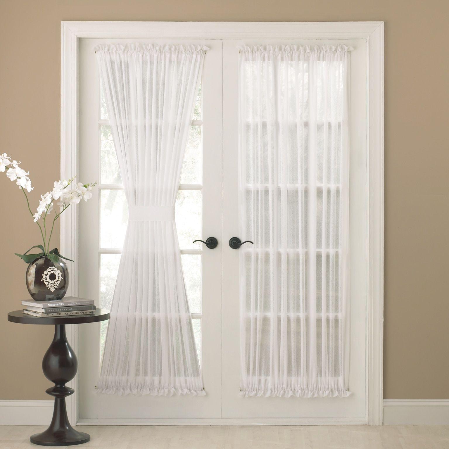 Semi Sheer 72 Inch Tailored Door Curtain Panel With Tieback 50 X