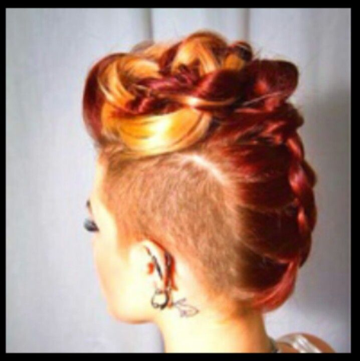 Sweet updo braid with shave.