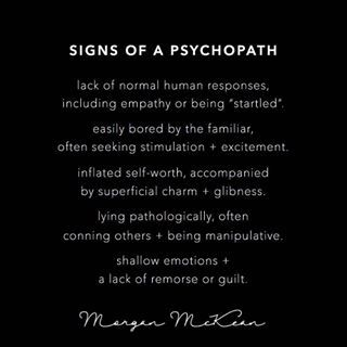Signs of psychopath