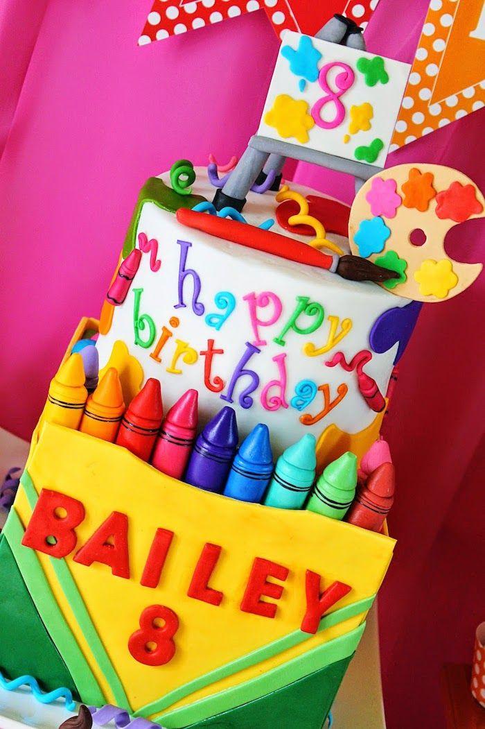 Terrific Art Themed Eigth Birthday Party With Images Crayola Birthday Funny Birthday Cards Online Necthendildamsfinfo