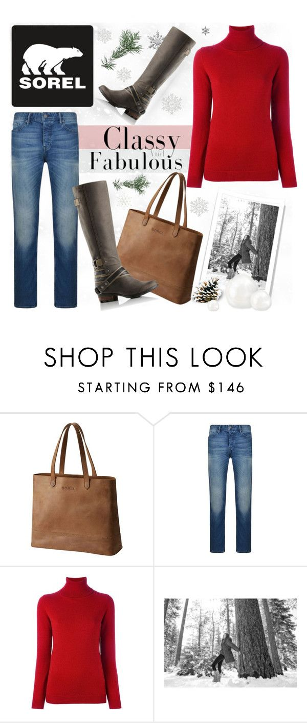 """""""Tame Winter with SOREL: Contest Entry"""" by piedraandjesus ❤ liked on Polyvore featuring SOREL, BOSS Orange, Allude and sorelstyle"""