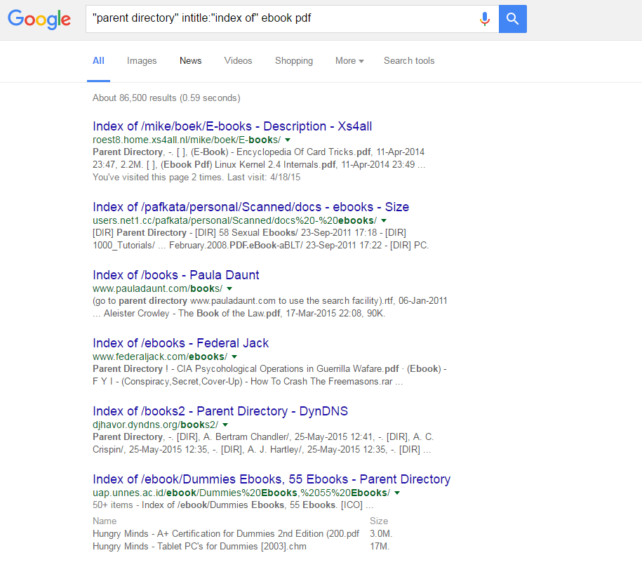 google dorking cheat sheet