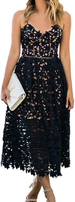 a254731ebb9 Alvaq Women s Summer Casual V Neck Bridesmaid Lace High Low Party Midi Dress  Wedding Cocktail Dresses Plus Size Black