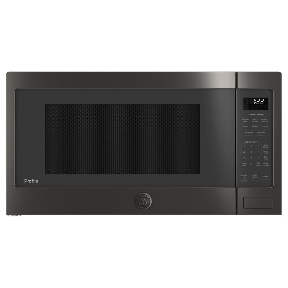 Ge Profile 2 2 Cu Ft Countertop Microwave In Black Stainless