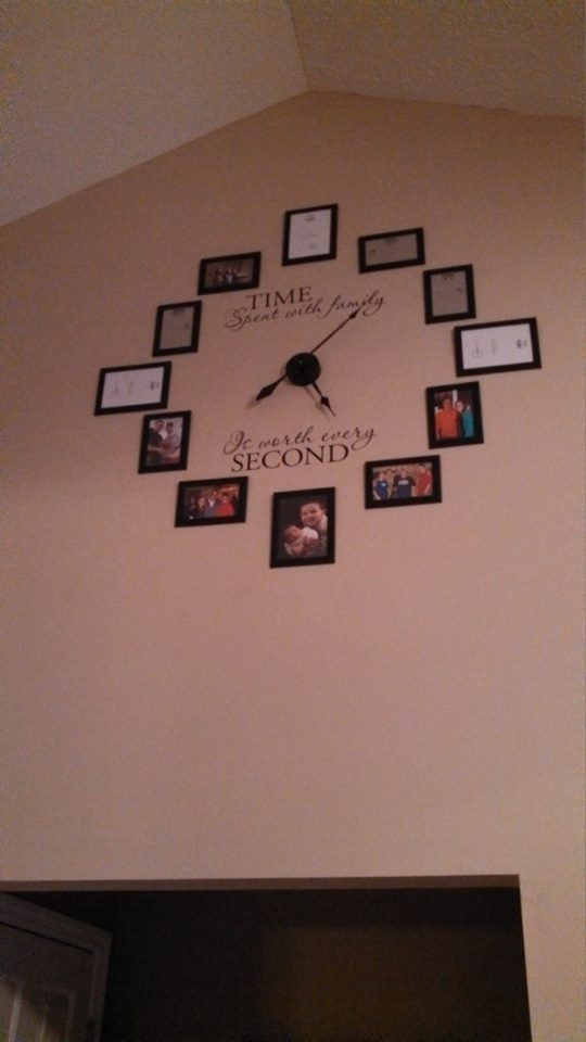 Time Spent With Family Clock Decal Large FAMILY PHOTO Wall Clock - How to put a vinyl decal on a wall