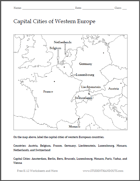 Capital Cities of Western Europe Map Worksheet Free to print