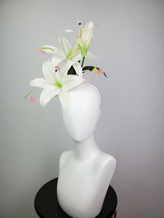 kentucky derby hat fascinator headband with lime chartreuse green and pink feathers with large white