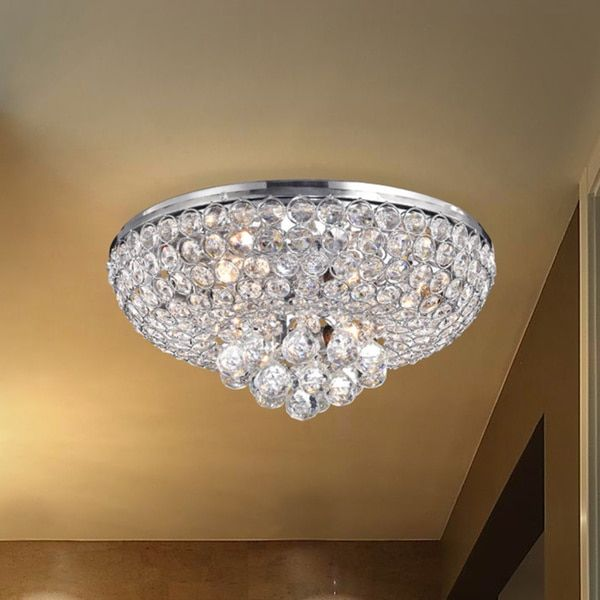 Francisca 4 Light Chrome Finish Flush Mount Crystal Chandelier Clear