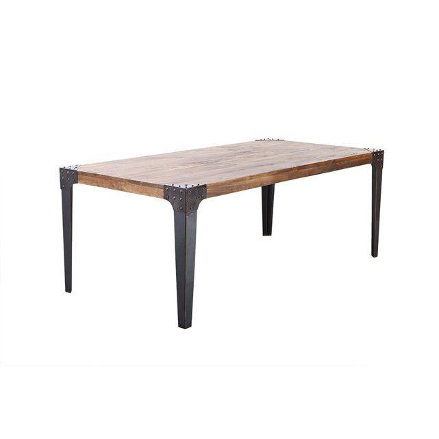 table manger industrielle acier et bois madison miliboo. Black Bedroom Furniture Sets. Home Design Ideas