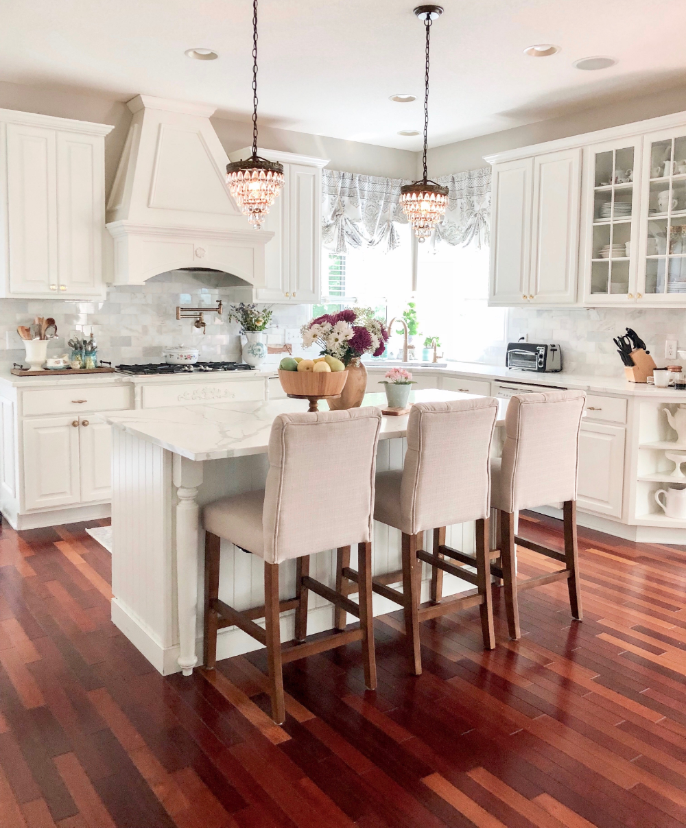 Kitchens With White Cabinets And Brazilian Cherry Floors Google Search In 2020 Wood Floor Kitchen Cherry Hardwood Flooring Cherry Wood Floors