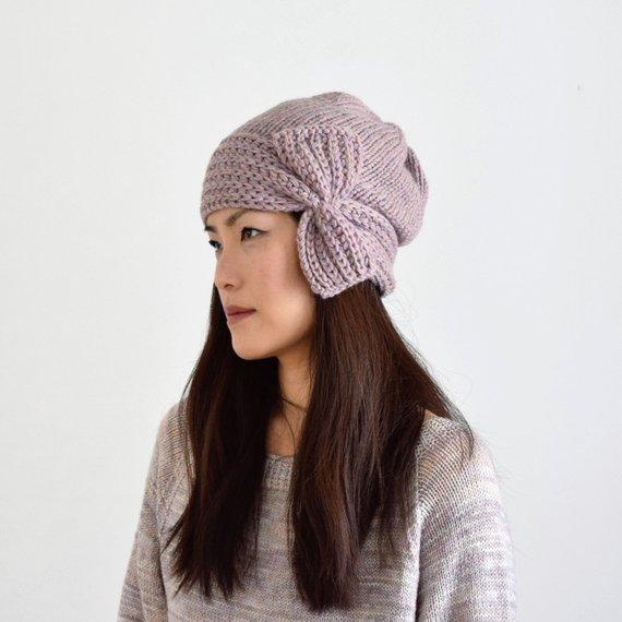 3325f9a18 Wool Alpaca Cloche Hat with Bow, Alpaca Knit Hat, Pink Knit Hat ...