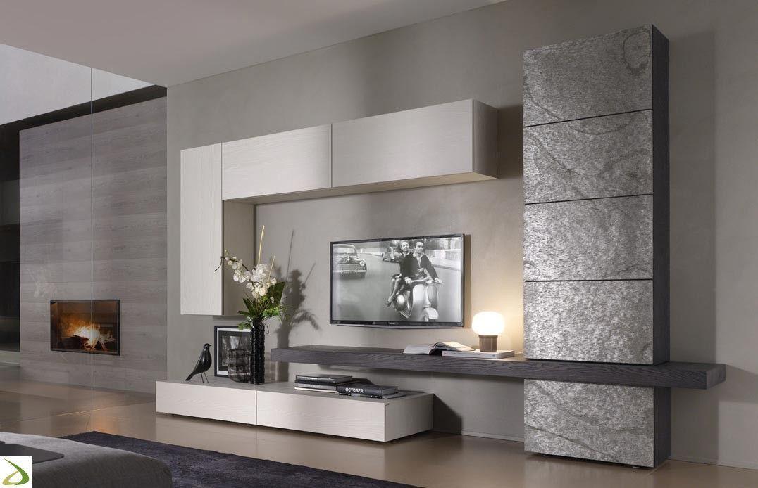 Parete soggiorno in pietra tommy arredo design online for Arredo tv design