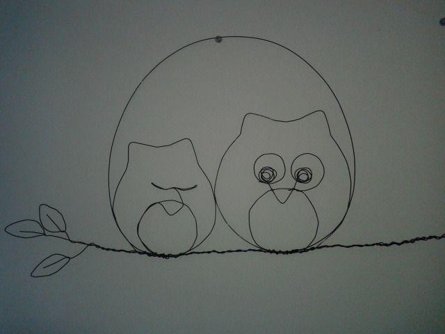 Scène tendresse : Bébé hibou et sa maman : Décorations murales par au-fil-des-temps