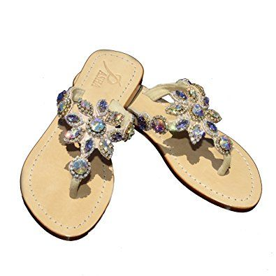 8e13af2fc PASHA HISINGEN Crystal Jeweled Leather Sandals Review
