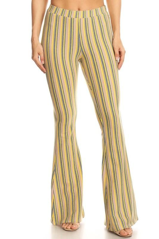 a660a87ea78 Striped Print Flare Bottom Pants | Products | Pants, Stripe print ...