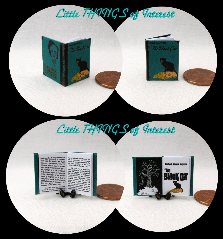 THE BLACK CAT BY EDGAR ALLEN POE Miniature Book Dollhouse 1:12 Scale Readable