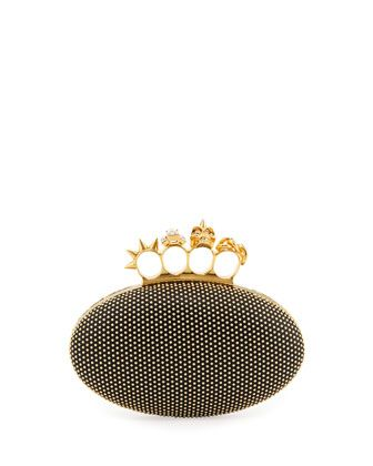 Studded Oval Knuckle Clutch Bag, Black by Alexander McQueen at Bergdorf  Goodman.