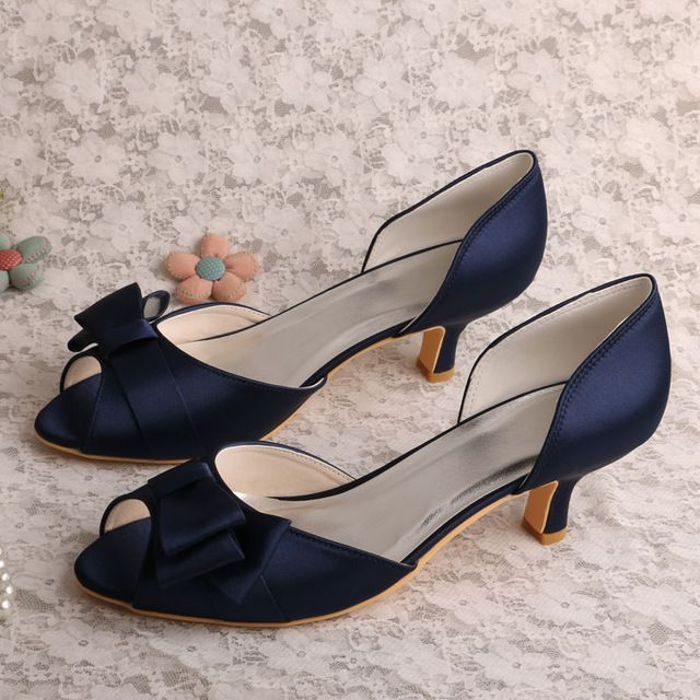 Wedopus Mw556 Navy Blue Satin Low Heel Women Party Shoes P Toe Autumn Spring