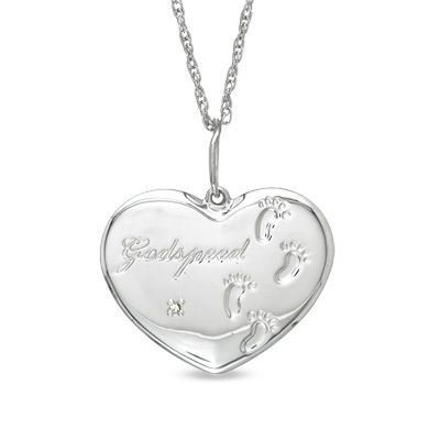 """Precious Moments® Diamond Accent """"Godspeed"""" Footprints in Heart Pendant in Sterling Silver"""