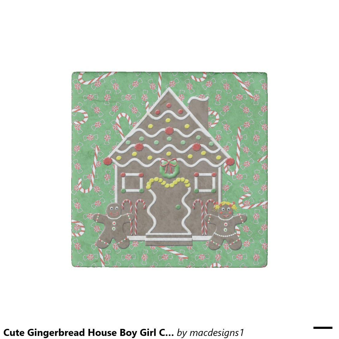 Cute Gingerbread House Boy Girl Christmas Green Stone Magnet
