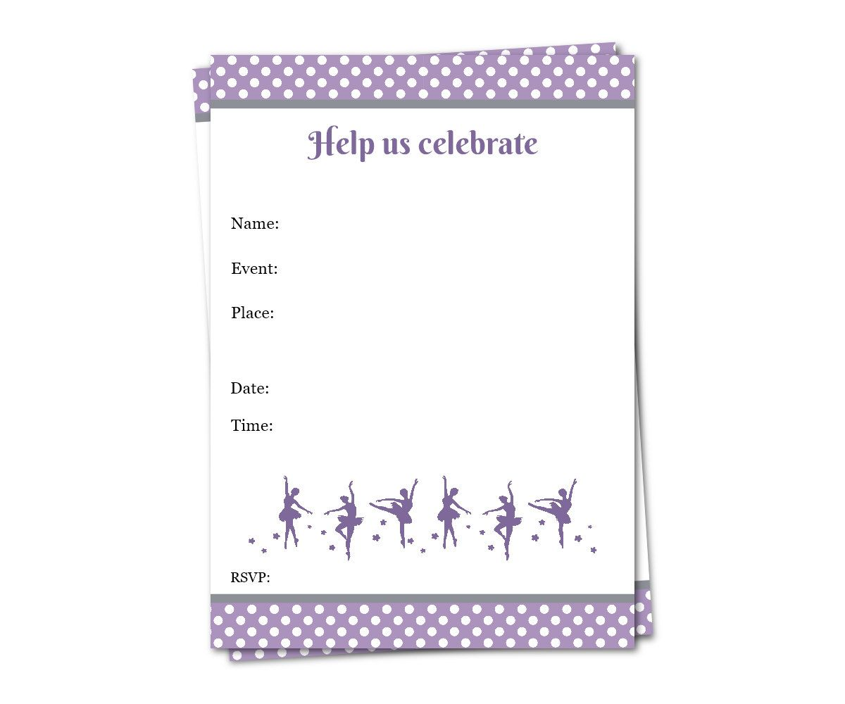 ballerina party invitation fill in invitation girl invitation
