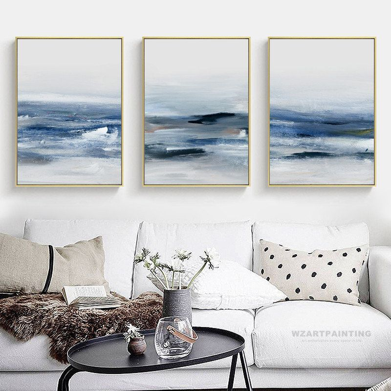 Framed Wall Art Set Of 3 Prints Modern Abstract Ocean Navy Blue Wave Seascape Prints Painting Abstract Painti In 2020 Framed Wall Art Sets Seascape Print Wall Art Sets