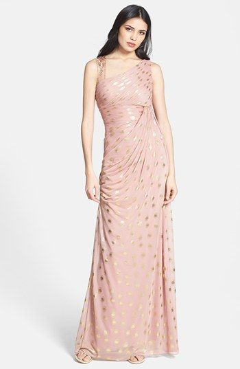 Free shipping and returns on Adrianna Papell Foiled Dot Asymmetrical Mesh  Dress at Nordstrom.com. A single jewel-decked strap balances the  asymmetrically ... b673ddb740fd