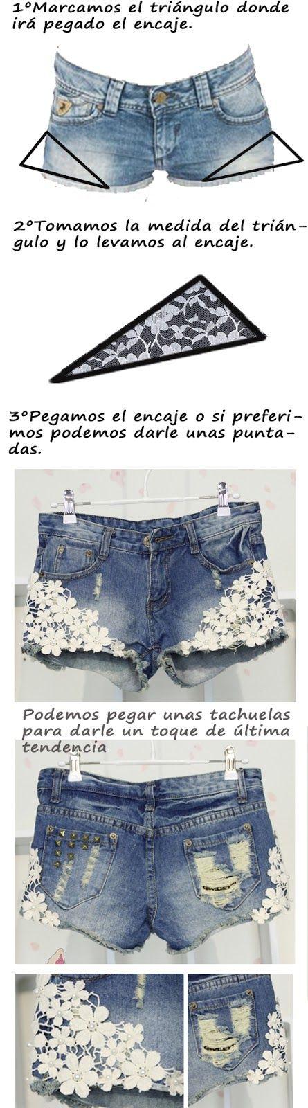 DIY shorts con encaje | BestLookzone | alice | Pinterest | Nähen ...