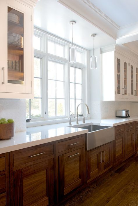 style show kitchen area tarnished timber base white wall surface ...