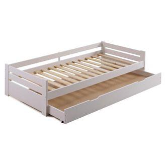 Lit gigogne en bois 90x190 cm avec sommiers ƒ lattes et 1 tiroir