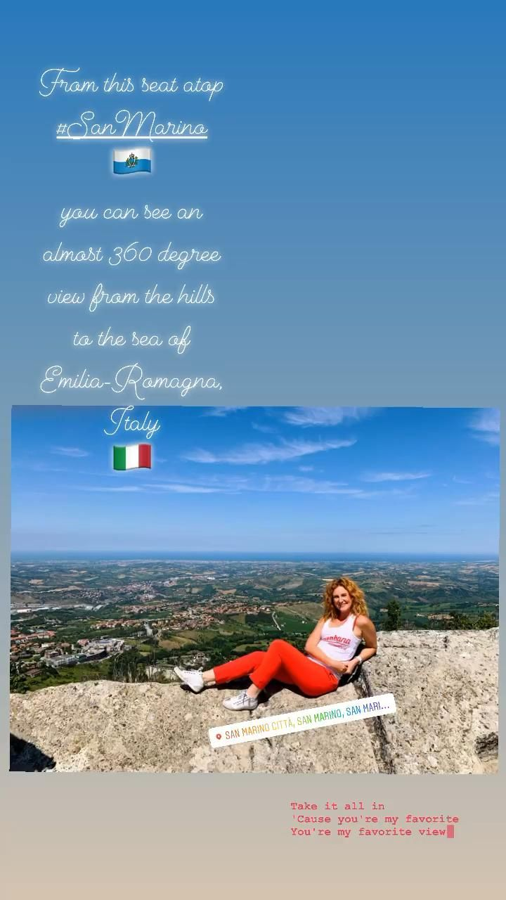 From this seat atop #SanMarino 🇸🇲 you can see an almost 360 degree view from the hills to the sea of Emilia-Romagna, Italy 🇮🇹