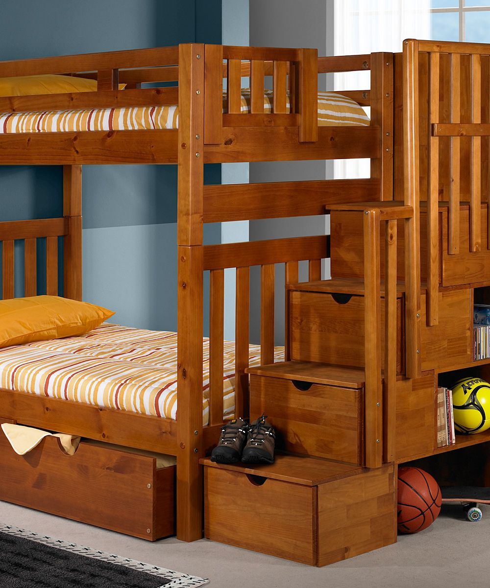 Donco Kids Honey Mission Stairway DoubleDrawer Bunk Bed