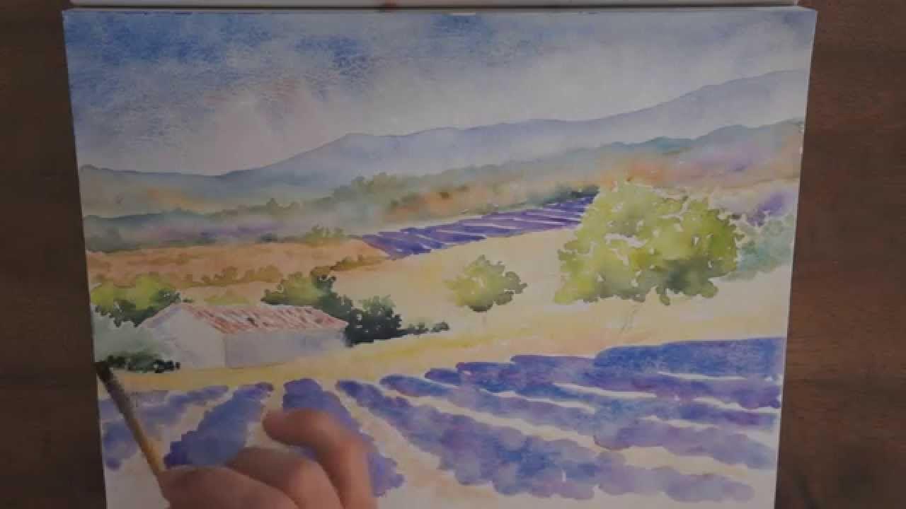 Demo Aquarelle Un Champ De Lavandes Tutoriels Peinture