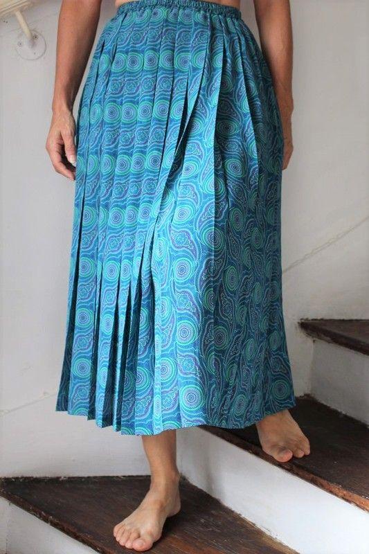 Jupe mi longue plisse bleu/vert T38-40devernois vintage retro année 60- 70