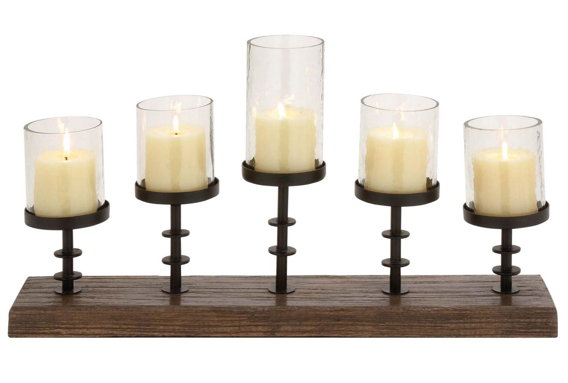 Wood metal glad candleabra signature decor pinterest metals