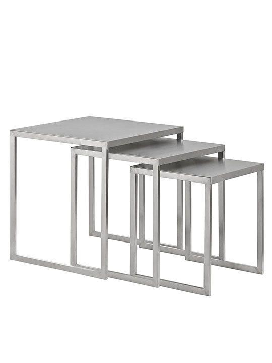 Stainless Steel Nesting Table Set Modern Furniture Brickell