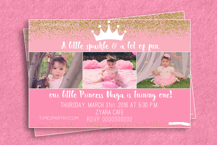 First Birthday Invitation Princess Theme