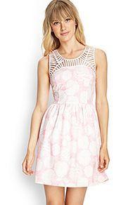 textured floral cutout dress