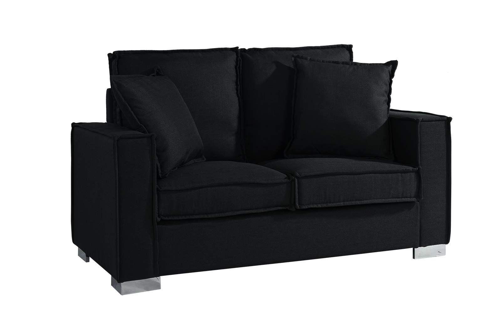 Classic Linen Fabric Sofa Small Space Loveseat Couch Black Love Seat Fabric Sofa Black Fabric Sofa