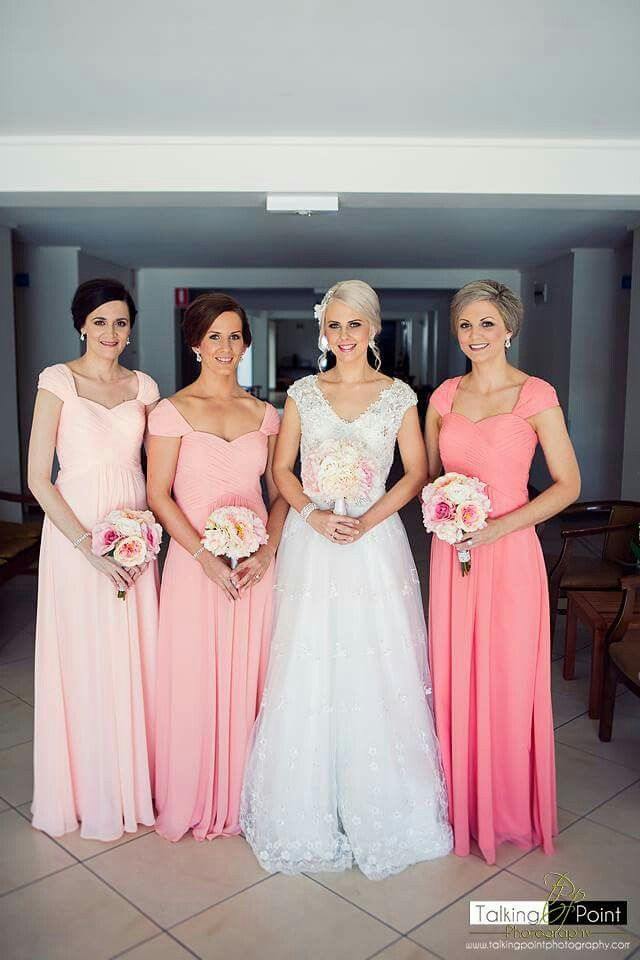 For Her And Him Branded Multi Coloured Bridesmaid Dresses Ced Sleve Shiffon Dress In Peach Sherbet Dusty C Pink