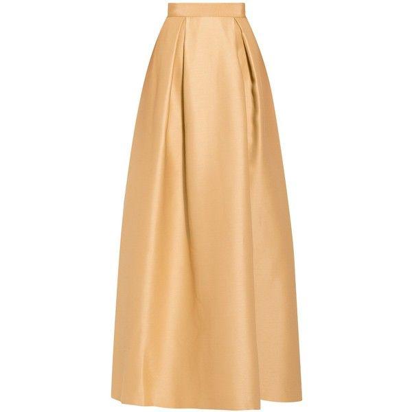 Alberta Ferretti Maxi Skirt ($1,095) ❤ liked on Polyvore featuring skirts, gonne, gold, long beige skirt, holiday maxi skirts, evening skirts, cocktail skirt and floor length skirt