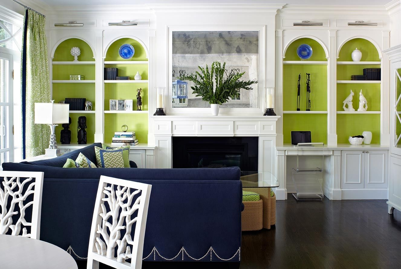 Navy and lime green done in a sophisticated combination by anne