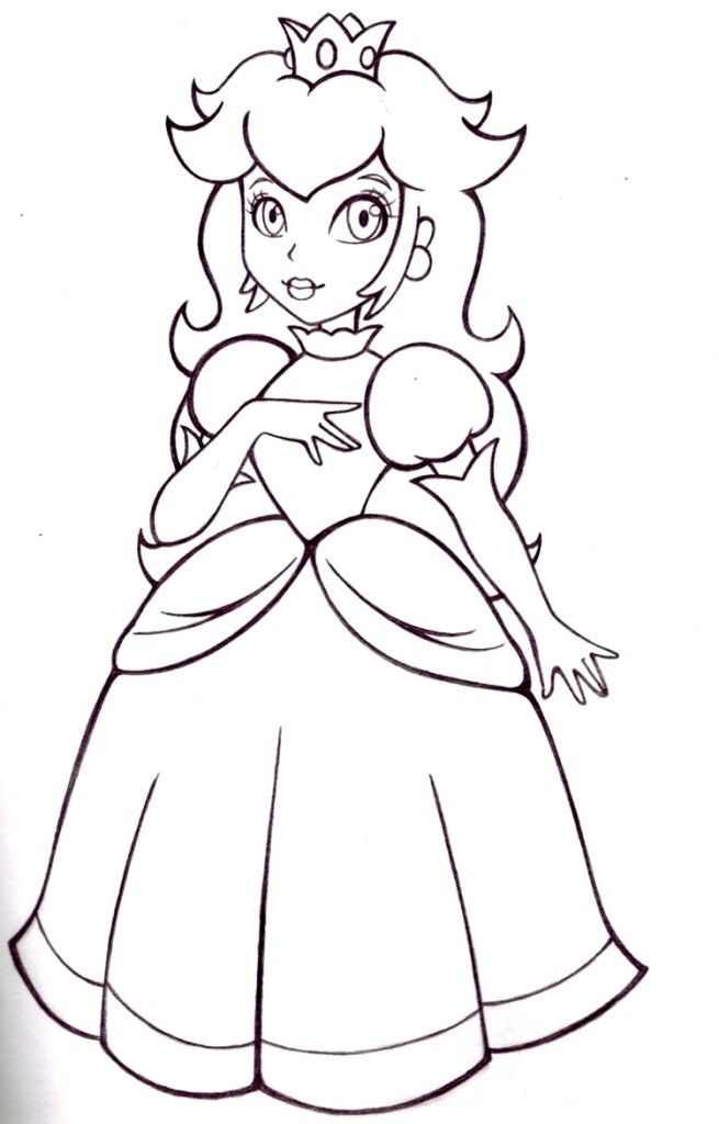 Free Princess Peach Coloring Pages For Kids Super Mario Coloring