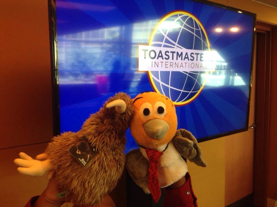 Curtis Crane and Kenny Kiwi at the Toastmasters Convention in Kuala Lumpur, Malaysia.