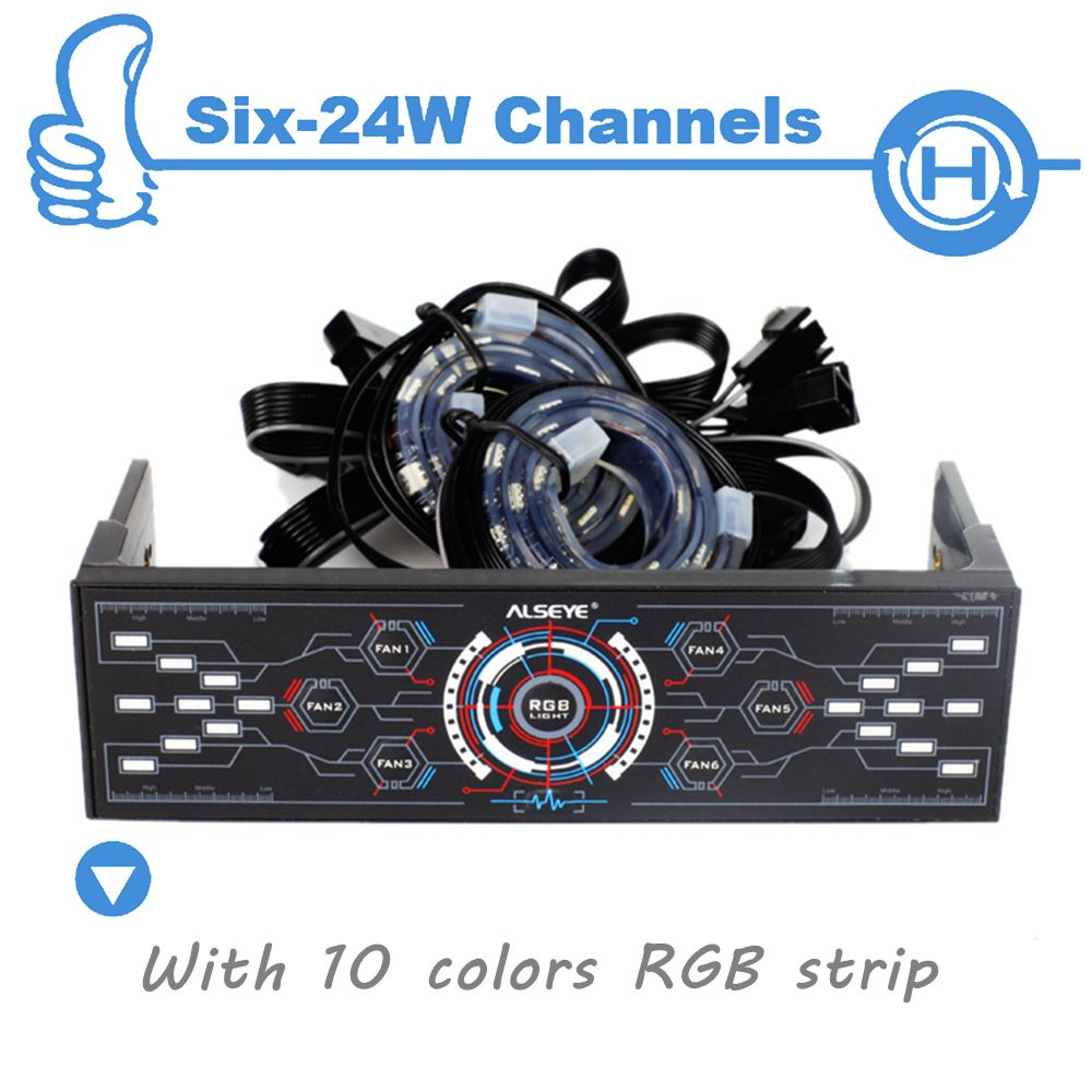 ALSEYE 6 Channels Computer Fan Controller with Dual Magnetic RGB LED ...