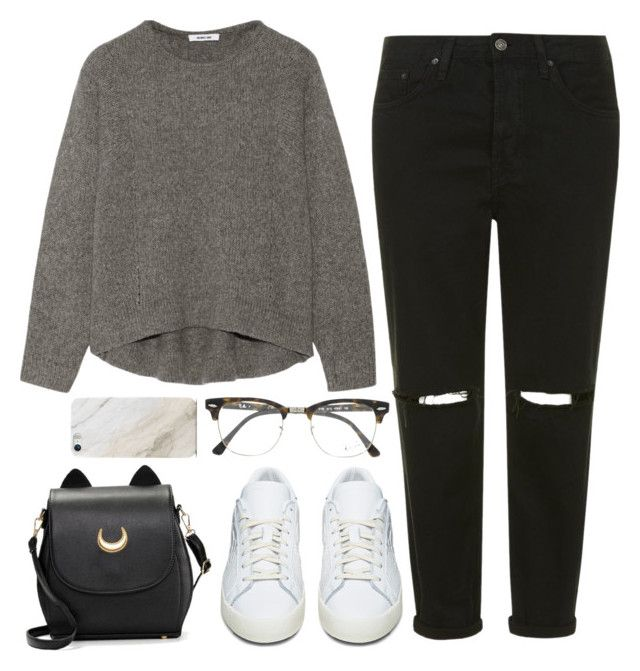 """""""Simple Dark"""" by iarsotelo on Polyvore featuring Helmut Lang, Topshop, adidas Originals, Ray-Ban y Samsung"""
