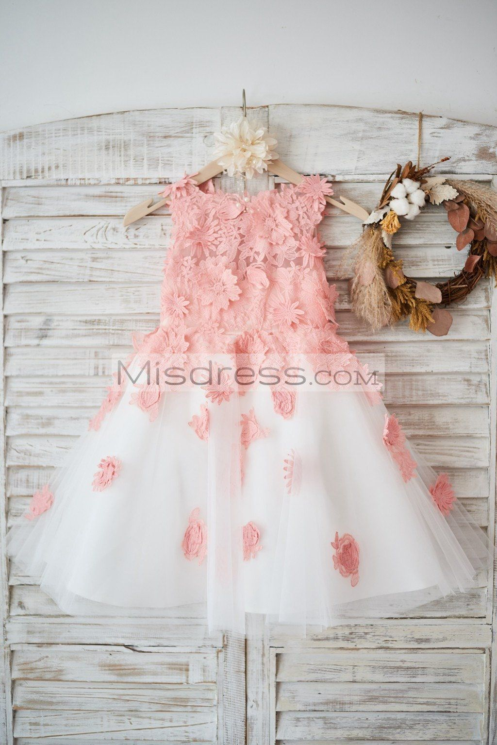 Ivory Tulle Peach Pink Lace Wedding Flower Girl Dress Httpswww