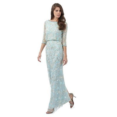 No. 1 Jenny Packham Pale blue jewel embellished maxi dress ...