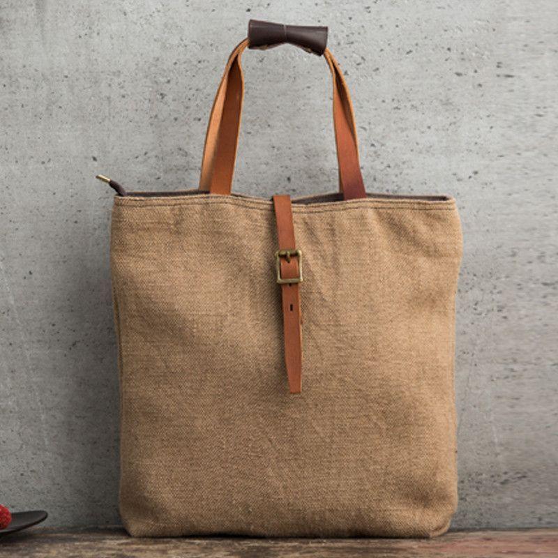 Handmade Canvas Tote Bag Handbag For Women Messenger Shoulder 14099 16oz Waxed Or Cotton Linen