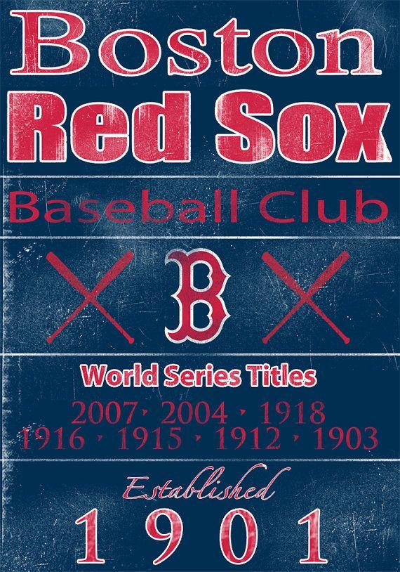 Boston Red Sox Vintage Wall Art Banner On Real By Studiojones1 60 00